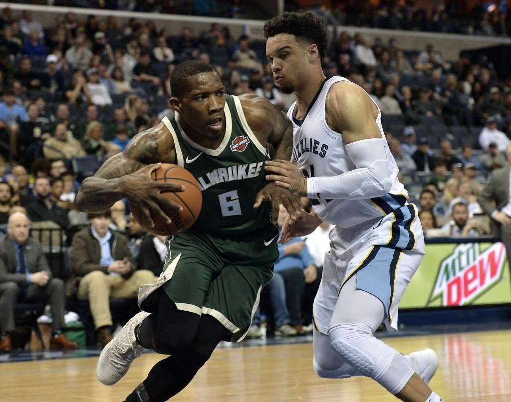 Milwaukee Bucks guard Eric Bledsoe (6) drives against Memphis Grizzlies forward Dillon Brooks (24) in the first half of an NBA basketball game Monday,