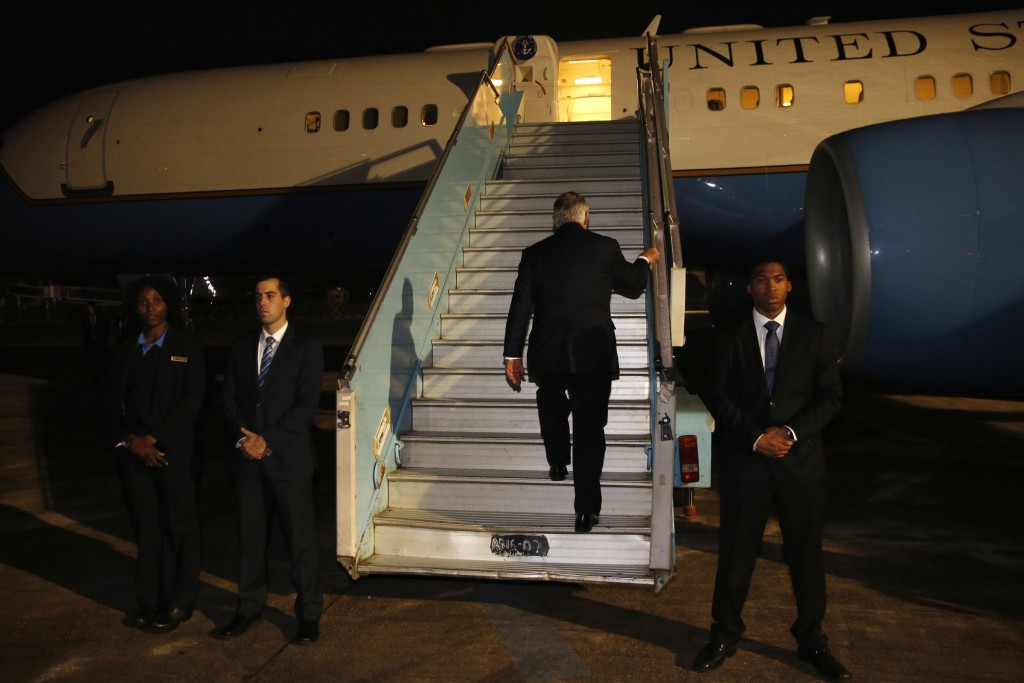 U.S. Secretary of State Rex Tillerson boards his plane to depart at the end of a five-country swing through Africa from Abuja, Nigeria, Monday, March