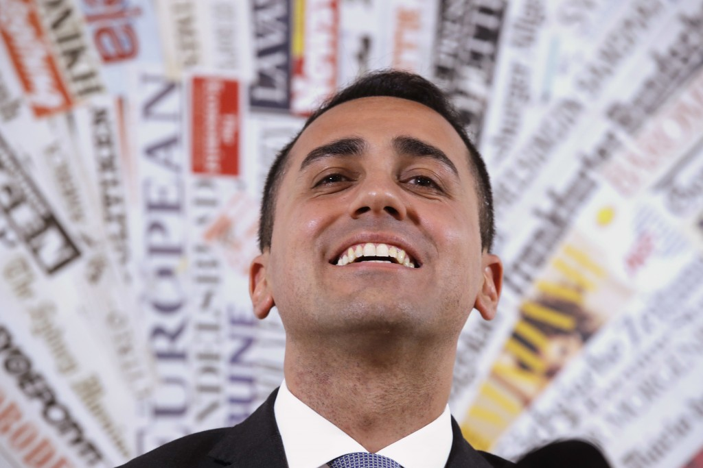 Five-Star Movement's leader Luigi Di Maio listens to reporters' questions during a press conference at the foreign press association headquarters in R