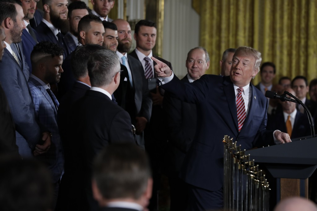President Donald Trump speaks during a ceremony honoring the World Series Champion Houston Astros, in the East Room of the White House, Monday, March