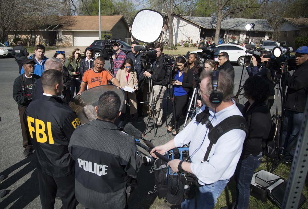 Authorities speak to the media after multiple explosions in Austin on Monday, March 12, 2018. Police are responding to another explosion Monday, that