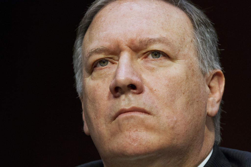 FILE - In the May 11, 2017 file photo, CIA Director Mike Pompeo listens while testifying on Capitol Hill in Washington.  Trump ousted Rex Tillerson as