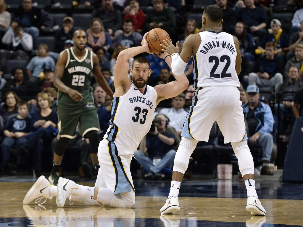 Memphis Grizzlies center Marc Gasol (33) looks to pass to guard Xavier Rathan-Mayes, right, in the second half of an NBA basketball game against the M