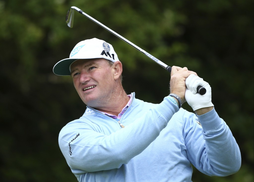 FILE - In this July 20, 2017, file photo, South Africa's Ernie Els plays a tee shot on the 5th hole during the first round of the British Open Golf Ch
