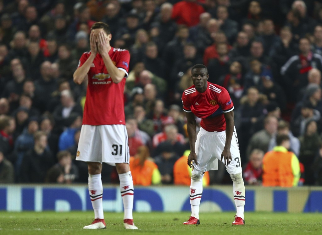 Manchester United's Nemanja Matic reacts after Sevilla scored their second goal of the game as he waits for the restart during the Champions League ro
