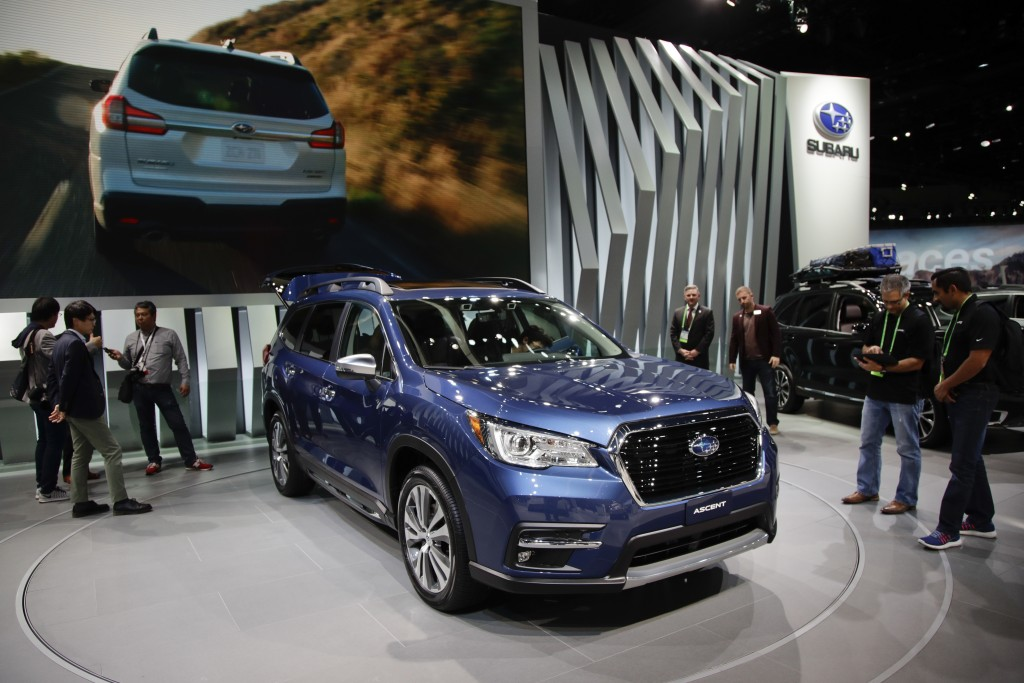FILE- In this Nov. 29, 2017, file photo, the 2019 Subaru Ascent is displayed at the Los Angeles Auto Show in Los Angeles. The 2019 Subaru Ascent is a