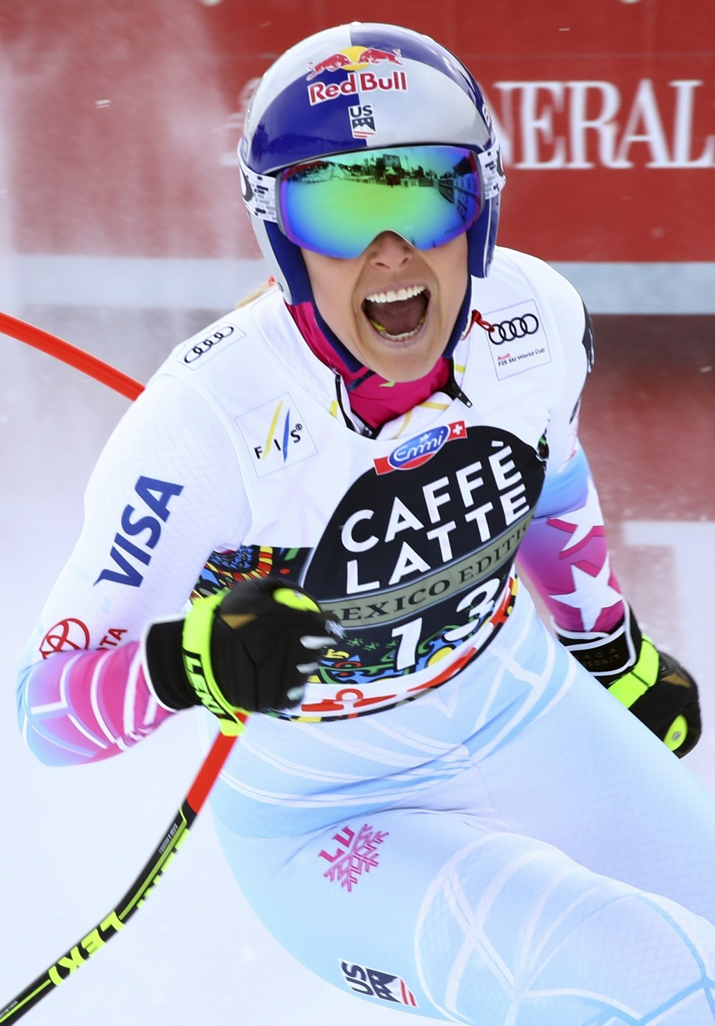 United States' Lindsey Vonn gets to the finish area after completing a women's downhill, at the alpine ski World Cup finals in Are, Sweden, Wednesday,