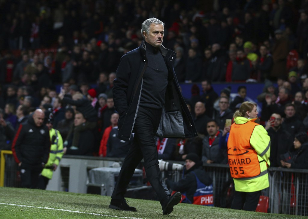 Manchester United head coach Jose Mourinho walks to the dressing room after his side were defeated by Sevilla during the Champions League round of 16