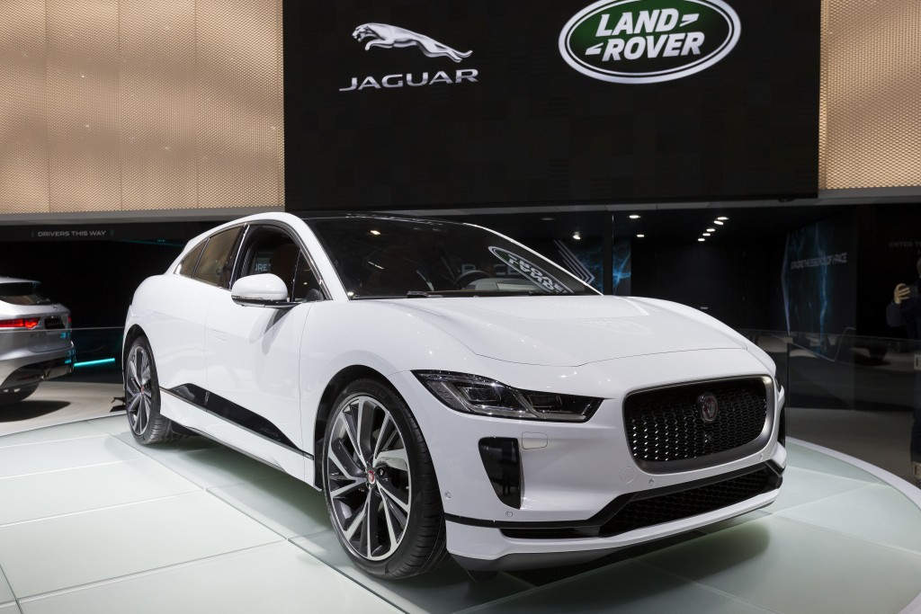 FILE- In this March 6, 2018, file photo, the New Jaguar I-PACE is presented during the press day at the 88th Geneva International Motor Show in Geneva