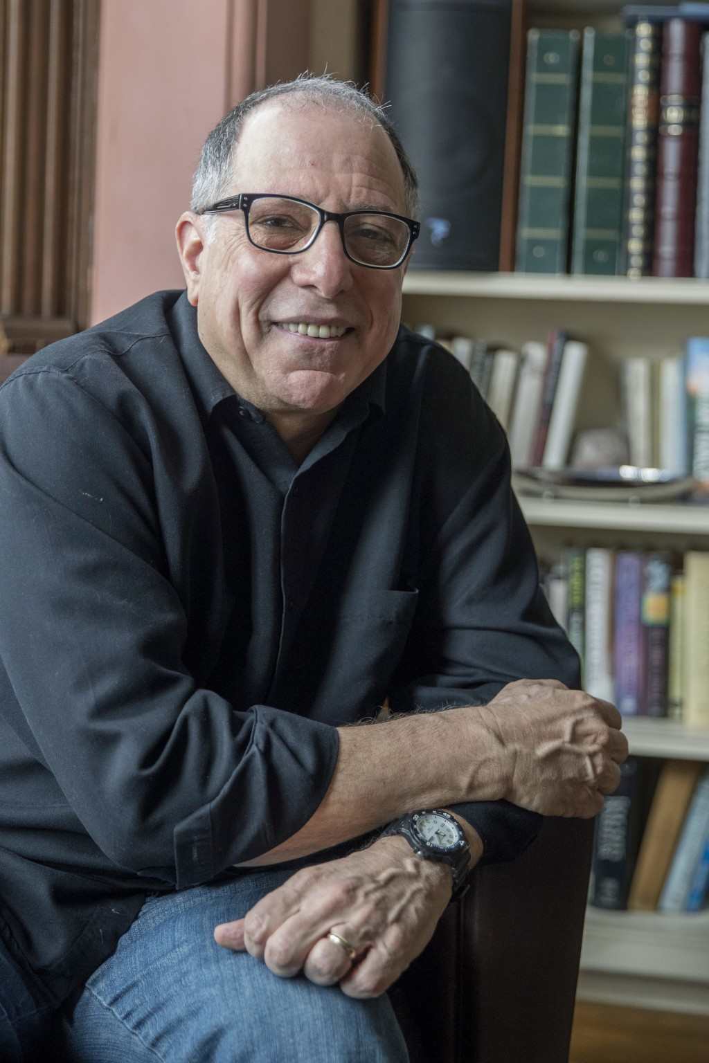 """In this Saturday, March 10, 2018 photo,  Michael Kimmel poses at his home in New York. Kimmel is a leader in what's known as """"masculinities studies,"""""""