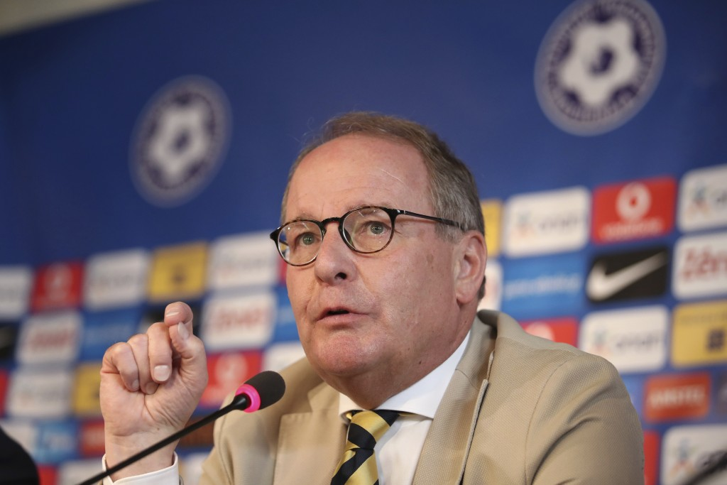 Austrian Herbert Huebel, chairman of the FIFA monitoring committee for the Hellenic Football Federation answers a question during a press conference i