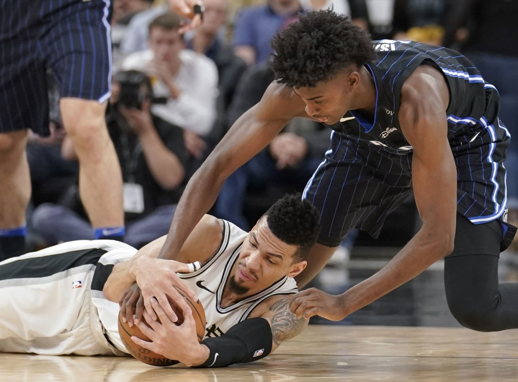 San Antonio Spurs' Danny Green, left, and Orlando Magic's Jonathan Isaac chase the ball during the first half of an NBA basketball game, Tuesday, Marc