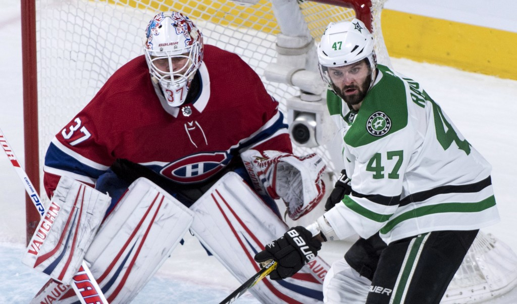 Dallas Stars right wing Alexander Radulov (47) keeps close to Montreal Canadiens goaltender Antti Niemi (37) during the first period of an NHL hockey