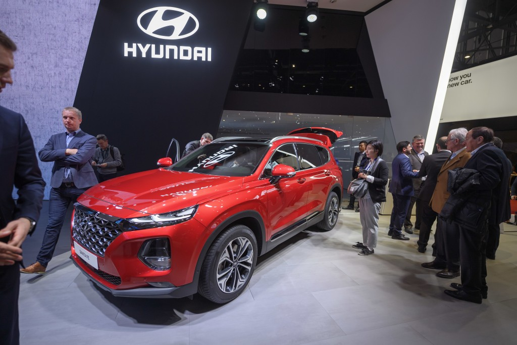 FILE- In this March 6, 2018, file photo, the New Hyundai Santa Fe is presented during the press day at the 88th Geneva International Motor Show in Gen