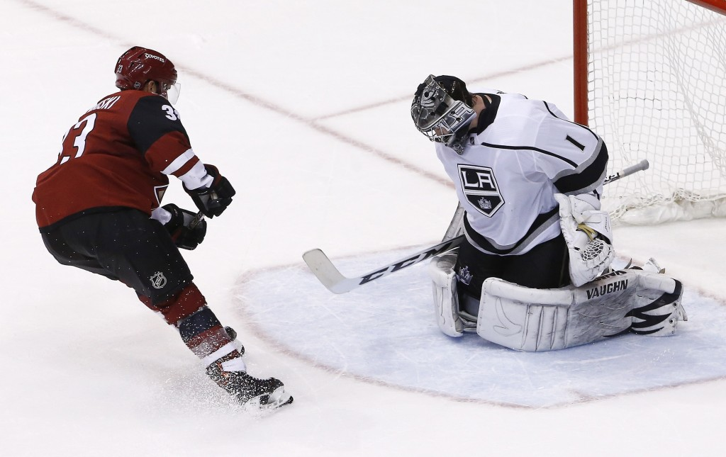 Arizona Coyotes defenseman Alex Goligoski (33) scores the game winner against Los Angeles Kings goaltender Jack Campbell (1) during a shootout of an N