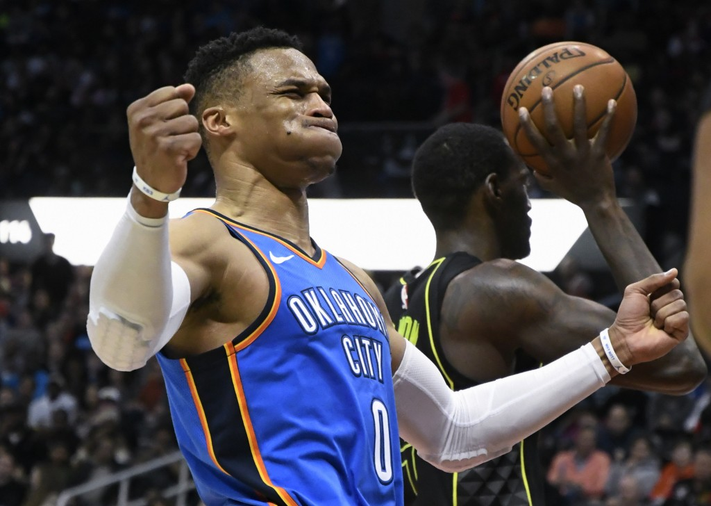 Oklahoma City Thunder guard Russell Westbrook reacts after being fouled during the second half of an NBA basketball game, Tuesday, March 13, 2018, in