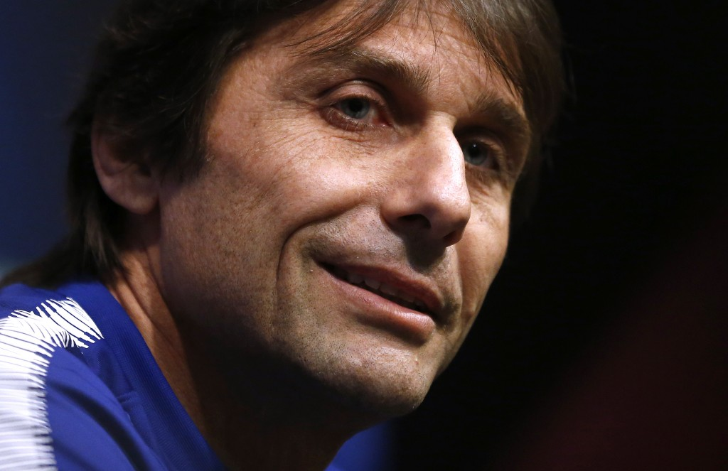 Chelsea's coach Antonio Conte attends a press conference at the Camp Nou stadium in Barcelona, Spain, Tuesday, March 13, 2018. FC Barcelona will play