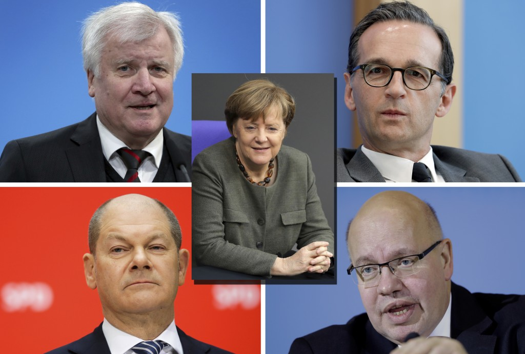 COMBO -- In this combination photo Horst Seehofer, top left, new German Interior Minister, addresses the media during a statement in Berlin, Germany,