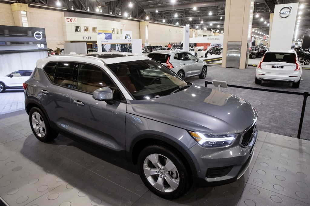 FILE- In this Jan. 26, 2018, file photo, a Volvo XC40 sits on display during a press preview of the Philadelphia Auto Show at the Pennsylvania Convent