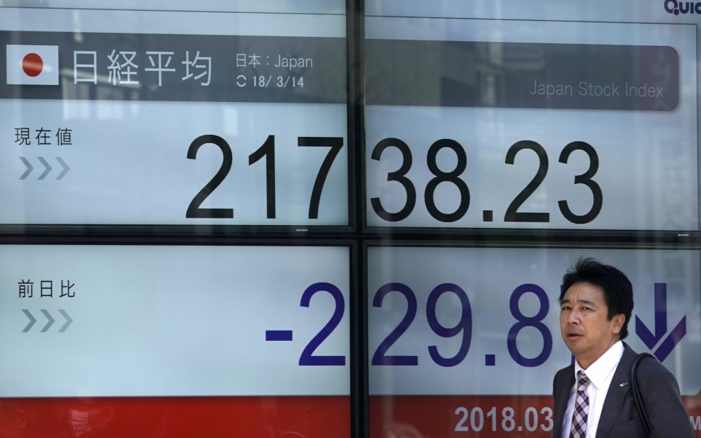 A man walks past an electronic stock indicator of a securities firm in Tokyo, Wednesday, March 14, 2018. Asian shares fell Wednesday, taking their cue