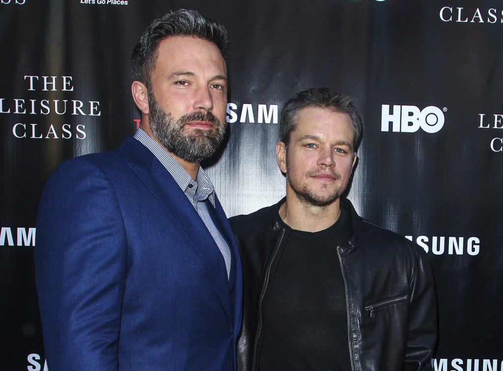 "FILE - In this Aug. 10, 2015 file photo, Ben Affleck, left, and Matt Damon attend the ""Project Greenlight"" premiere of ""The Leisure Class"" in Los Ange"