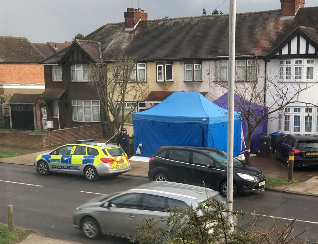 Police activity at a residential address in southwest London, Tuesday March 13, 2018.  According to a police statement Tuesday they are investigating