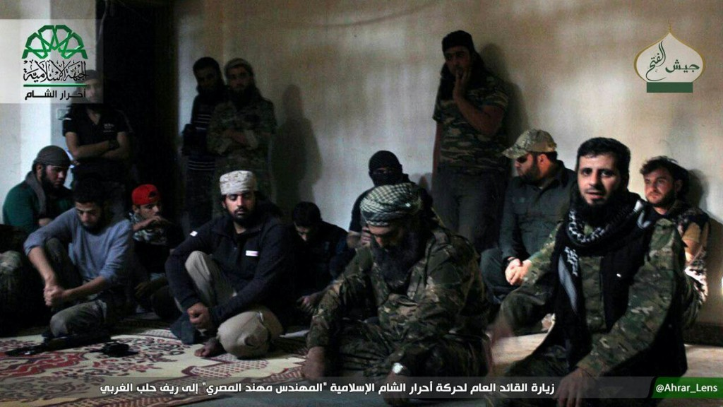 FILE - This file photo posted, Sunday, Oct. 30, 2016, by the Syrian militant group Ahrar al-Sham, shows the general commander of Ahrar al-Sham, Mohann
