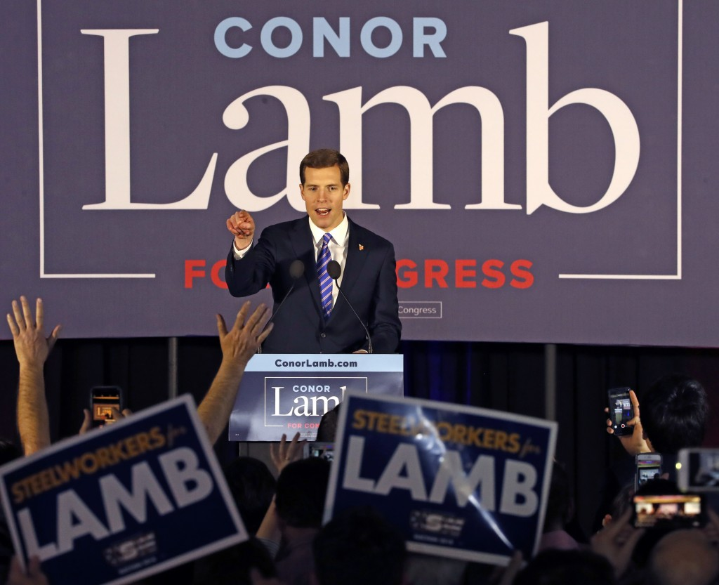 Conor Lamb, the Democratic candidate for the March 13 special election in Pennsylvania's 18th Congressional District celebrates with his supporters at