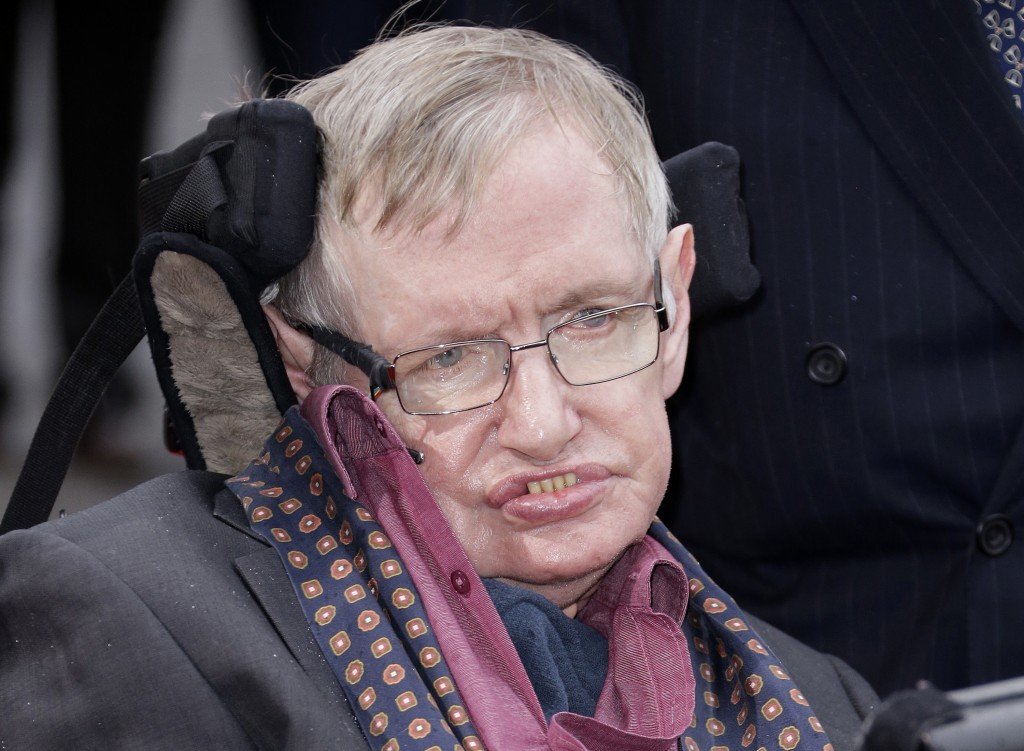 FILE - In this March 30, 2015 file photo, Professor Stephen Hawking arrives for the Interstellar Live show at the Royal Albert Hall in central London.