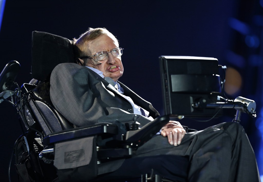 FILE - In this Aug. 29, 2012 file photo, British physicist, Professor Stephen Hawking speaks during the Opening Ceremony for the 2012 Paralympics in L