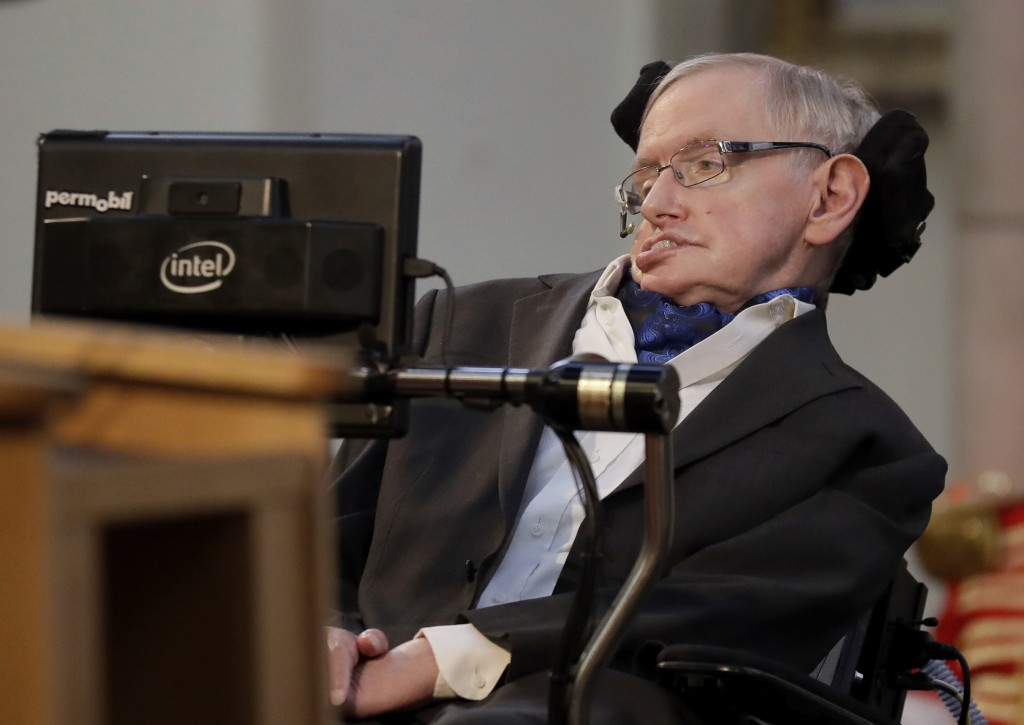 FILE - In this March 6, 2017 file photo, Britain's Professor Stephen Hawking delivers a keynote speech as he receives the Honorary Freedom of the City