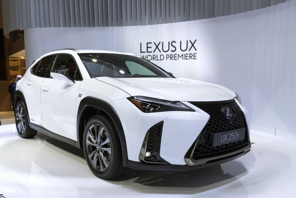 FILE- In this March 6, 2018, file photo the New Lexus UX is presented during the press day at the 88th Geneva International Motor Show in Geneva, Swit