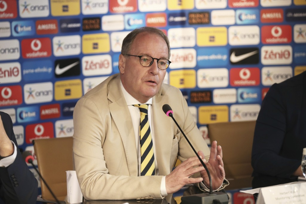 Austrian Herbert Huebel, chairman of the FIFA monitoring committee for the Hellenic Football Federation speaks during a press conference in Athens, We