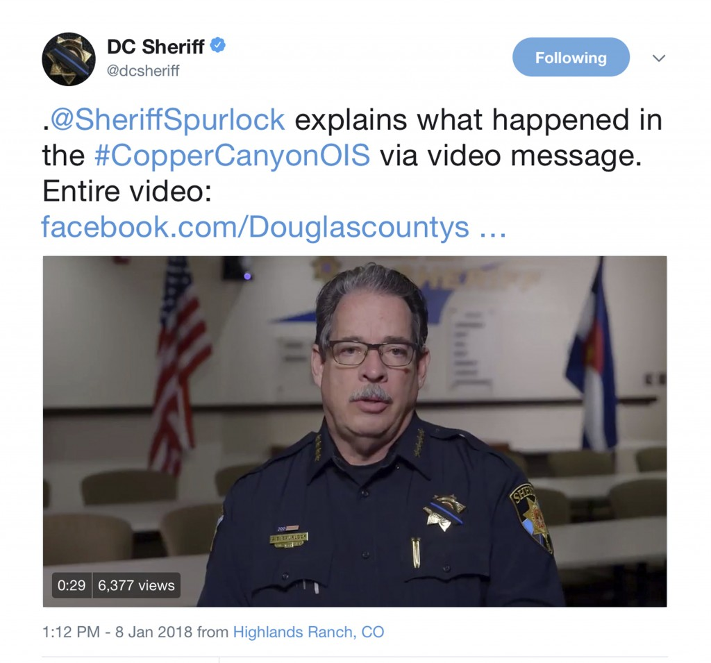 In this frame grab from a Monday, Jan. 8, 2018, video on the Twitter feed of the Douglas County, Colo., Sheriffs Department, Sheriff Tony Spurlock spe