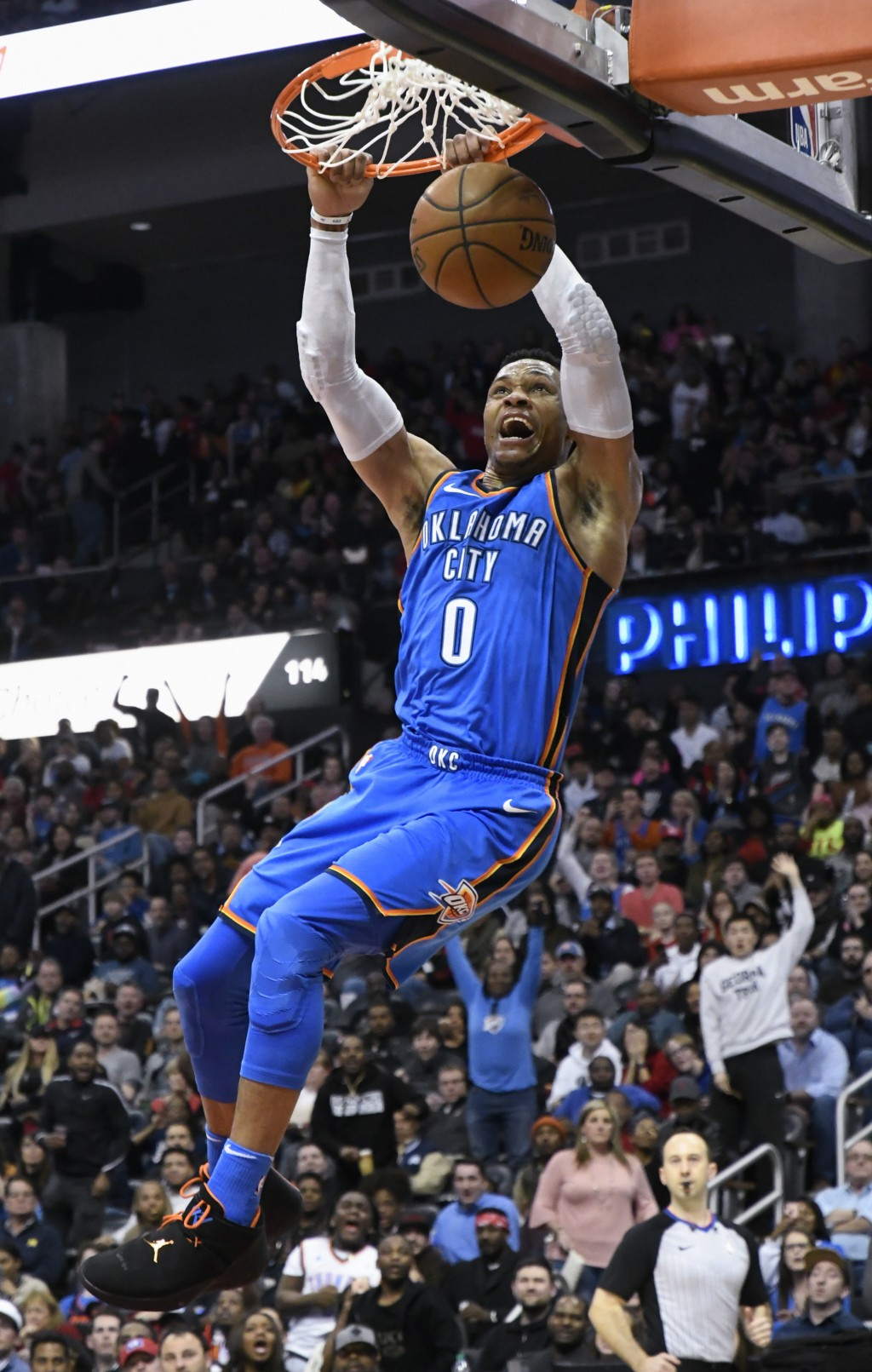 Oklahoma City Thunder guard Russell Westbrook dunks during the second half of an NBA basketball game against the Atlanta Hawks, Tuesday, March 13, 201