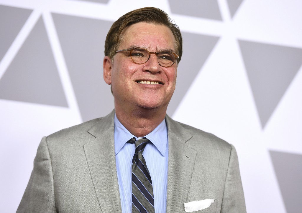 FILE - In this Feb. 5, 2018 file photo, Aaron Sorkin arrives at the 90th Academy Awards Nominees Luncheon at The Beverly Hilton hotel in Beverly Hills