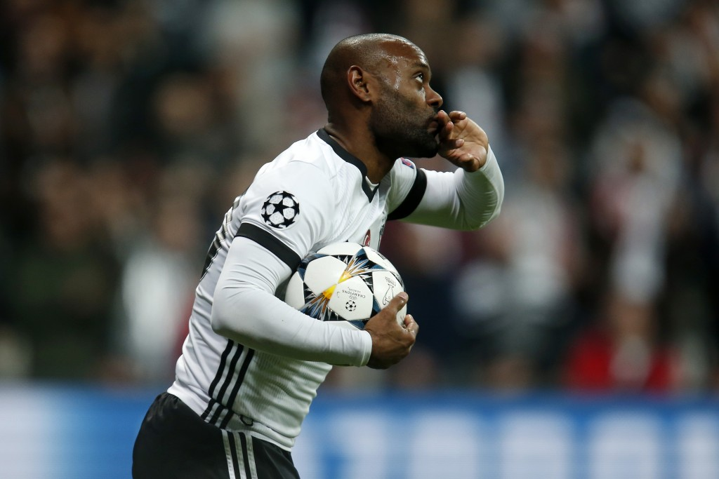 Besiktas' Vagner Love celebrates after scoring a goal during the Champions League, round of 16, second leg, soccer match between Besiktas and Bayern M