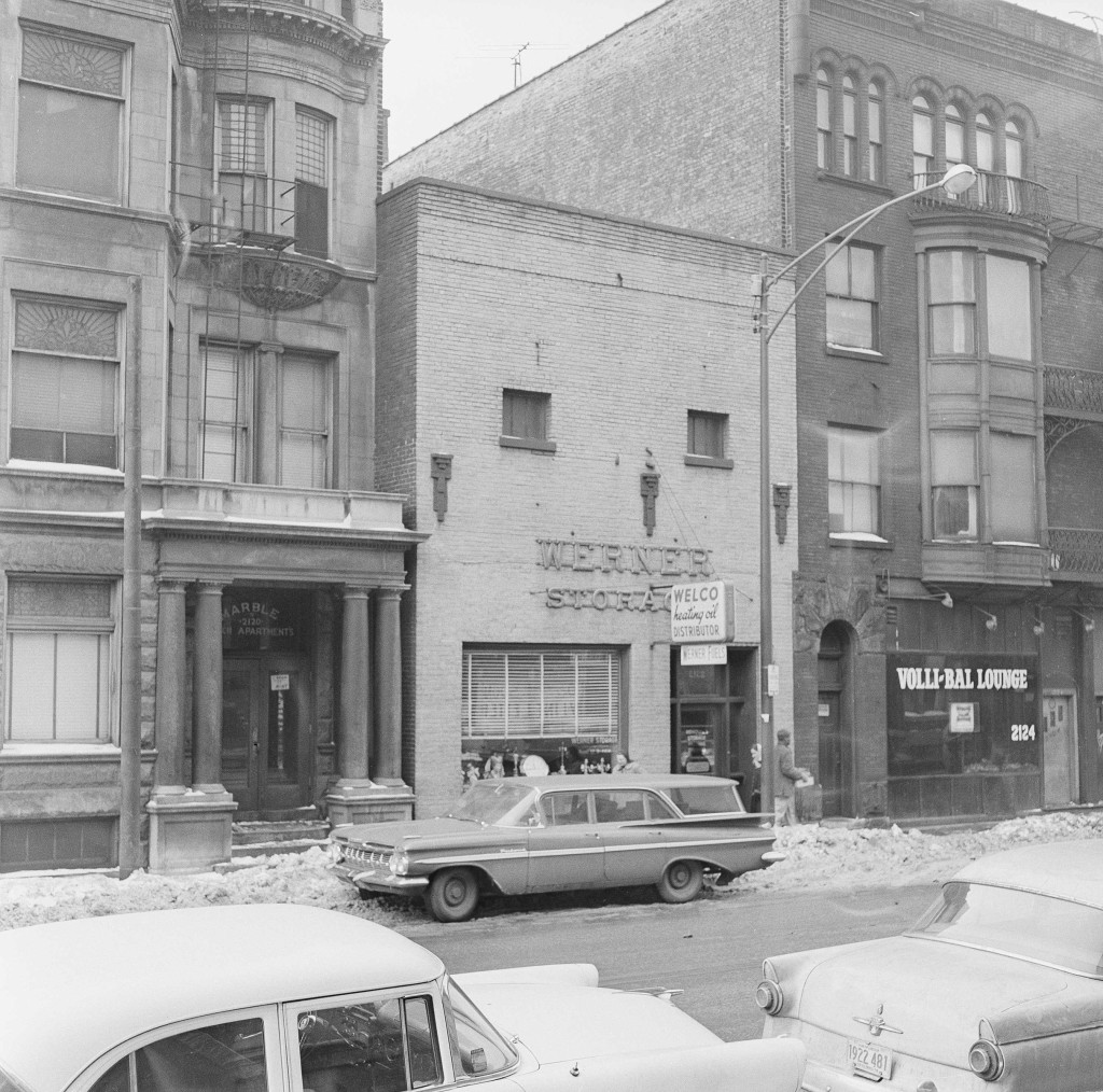 FILE - The Prohibition-era bloodbath known as the St. Valentine's Day Massacre took place in this nondescript building in Chicago, shown Feb. 4, 1959....