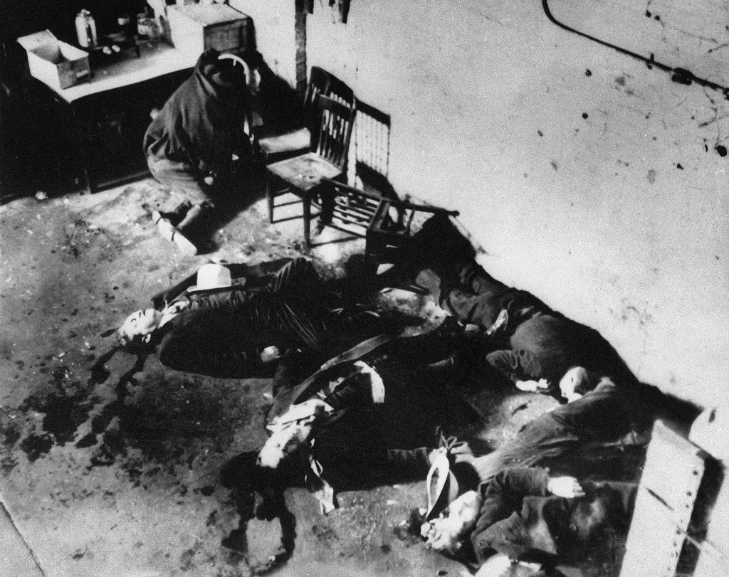 EDS NOTE: GRAPHIC CONTENT - FILE - This Feb. 14, 1929, photo shows the bodies of six of the seven men who were slain in the gangland Valentine's Day M...