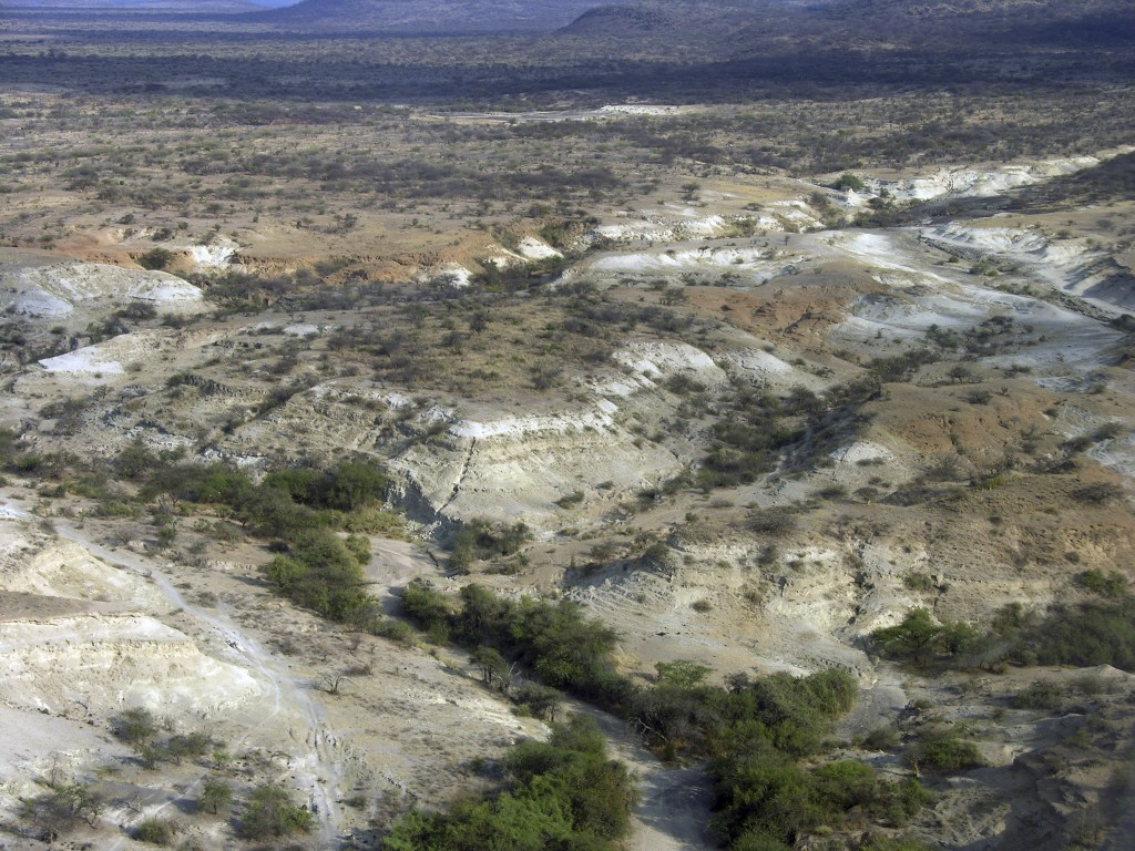 This 2005 photo provided by the Smithsonian's Human Origins Program shows the Olorgesailie Basin in southern Kenya. The area holds an archeological re
