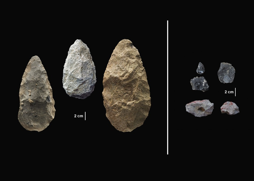 This image provided by the Smithsonian's Human Origins Program shows artifacts found in southern Kenya's Olorgesailie Basin. For hundreds of the thous