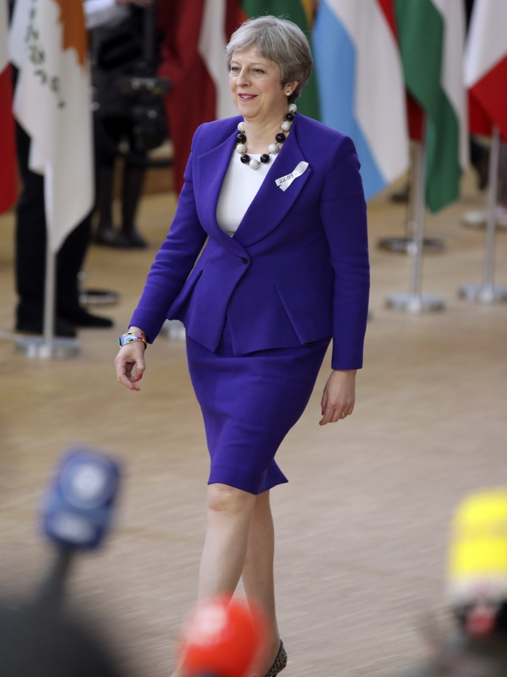 British Prime Minister Theresa May arrives for an EU summit at the Europa building in Brussels on Thursday, March 22, 2018. Leaders from the 28 Europe...
