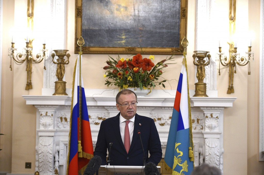 Russian ambassador Alexander Vladimirovich Yakovenko speaking at a news conference Thursday March 22, 2018, at his country's embassy in London in the ...