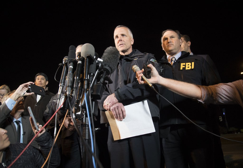 Austin Police Chief Brian Manley briefs the media, Wednesday, March 21, 2018, in Round Rock, Texas. The suspect in a spate of bombing attacks that hav...