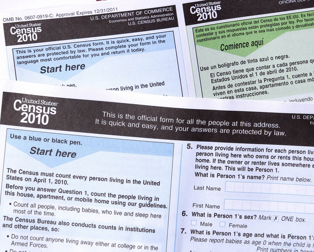 FILE - In this March 15, 2010, file photo, copies of the 2010 Census forms in Phoenix. The 2020 U.S. Census will add a question about citizenship stat...