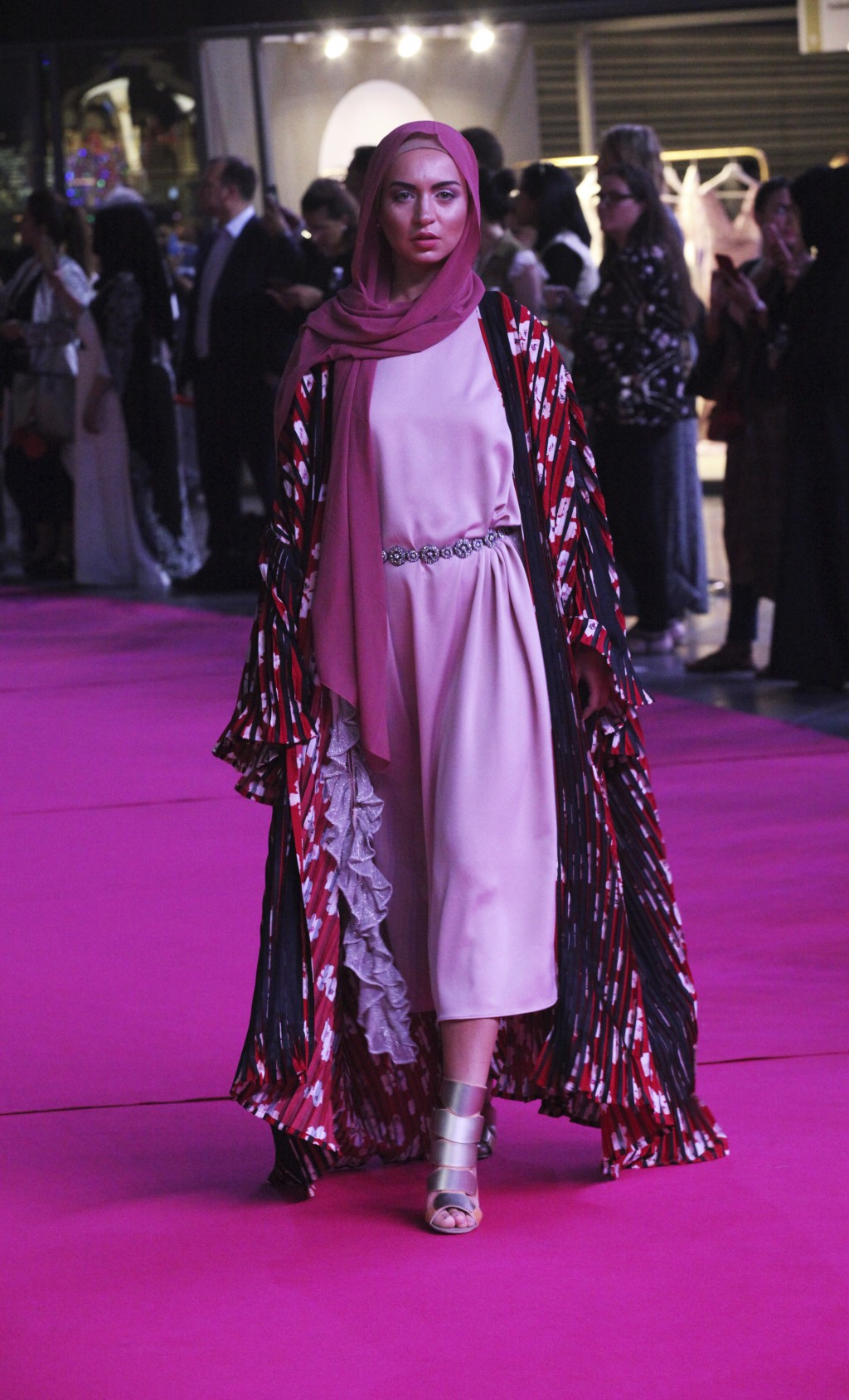 In this Wednesday, March 28, 2018 photograph, a model shows off a modest fashion outfit in Dubai, United Arab Emirates. The Islamic Fashion and Design...