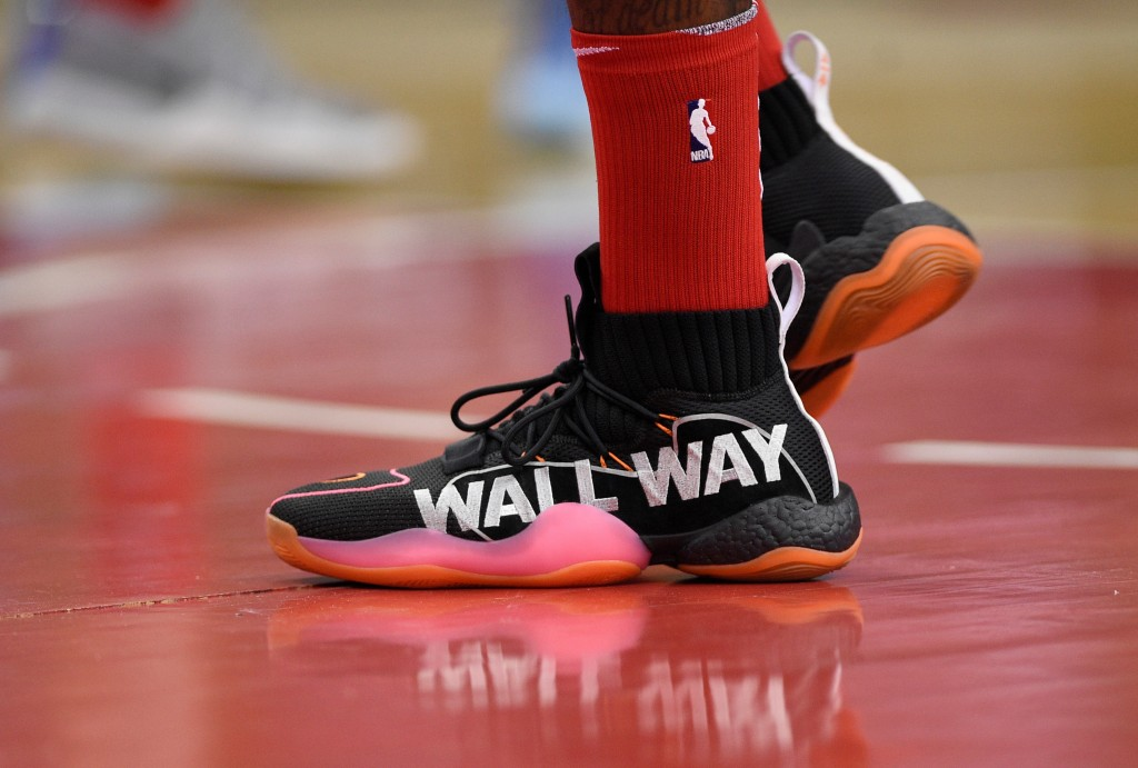 Washington Wizards guard John Wall's shoes are seen during the first half of an NBA basketball game against the Charlotte Hornets, Saturday, March 31,...