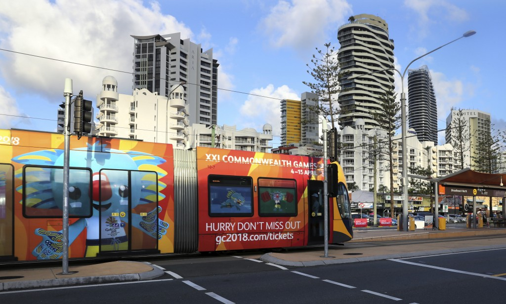 A Gold Coast Tram painted with Commonwealth Games announcement drives past in Gold Coast, Australia, Monday, April 2, 2018. The 2018 Commonwealth Game...