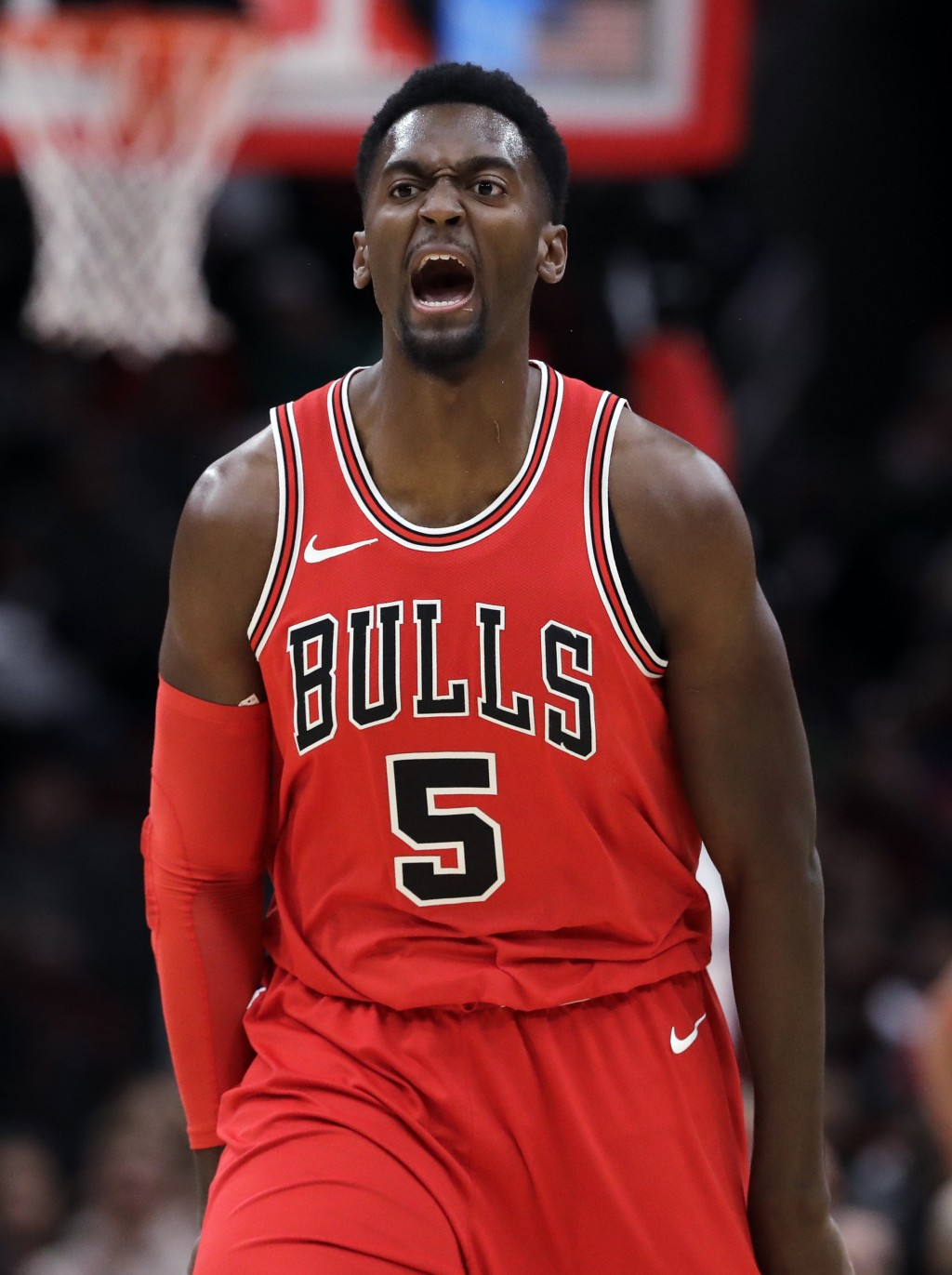 047d59b3 Chicago Bulls forward Bobby Portis reacts after he made a three-point  basket against the