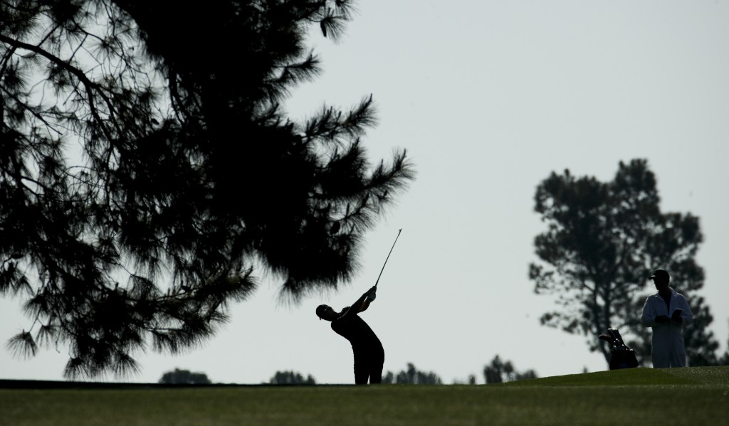 Thomas Pieters, of Belgium, hits from the fairway on the 15th hole during practice for the Masters golf tournament at Augusta National Golf Club, Tues...